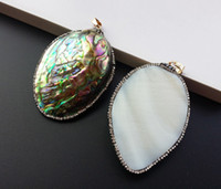 Wholesale Mop Jewelry Wholesale - 3Pcs Paved Crystal Beads On Side Around 40x60MM Half MOP Natural Abalone Shell Pear Water Drop Pendant for Necklace Jewelry Making SA-