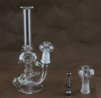 """Wholesale Function State - 2014 New two function 8""""height glass Inline to Donut Oil Rig bubbler water smoking pipe water mini glass bong free shipping to United States"""