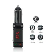 Wholesale Iphone Bluetooth Handsfree Car Kit - Universal LCD Bluetooth Car Kit MP3 Player FM Transmitter Dual USB Charger Handsfree kit For iPhone car styling