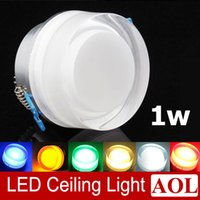 acryl kristall führte deckenleuchten großhandel-Bunter 1x1w LED Acrylkristalldeckenlampen 90lm Gang beleuchtet Portallampenwandlampe AC85-265V runder LED Scheinwerfer für Hausbeleuchtung