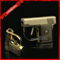 Wholesale Gas Gifts - Mini Novelty Metal Pistol Jet Torch Flame Windproof Cigarette Cigar Gun Lighter With Gift Box Free Shipping
