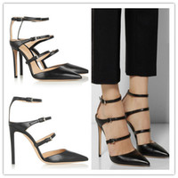 Wholesale Three Point Buckle - 2015 Hot Sale Women Pumps Three Buckles Pointed Toe High Heels Shoes Ankle Strap Gladiator Sandals Women Party Wedding Shoes