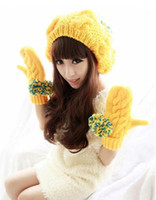 oversized christmas balls - Hot Sales and Fashion Autumn Winter Knitted Yellow Hats Gloves With Plush Ball Oversized Christmas Gift CZ32
