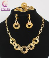 Wholesale Costume Jewelry Sets For Sale - Hot Sale Dubai vintage luxury crystal wedding bridal african beads costume gold plated Statement jewelry sets for women