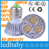 luces led al por mayor-Bombillas led CREE E27 E26 MR16 GU10 GU5.3 Focos reflectores 3W LED Regulables 12V luces led UL de alta potencia