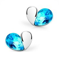Heart of the Ocean Style Lovely Crystal Swan Stud Earrings pour bijoux féminins