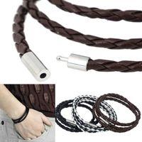 ingrosso braccialetto magnetico nero-Braccialetti con braccialetti di moda Braccialetti di cuoio neri Braccialetti di cuoio magnetici