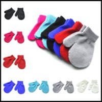 Wholesale Babies Knitted Mittens - HOT Winter Autumn Baby Crochet Warm Glove 7 Solid Colors Knitted Children Boys Girls Mittens Unisex Kids Gloves