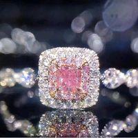 imitação anéis de noivado ouro branco venda por atacado-Quadrado Lado Rosa Anel De Casamento De Pedra Micro pavimentar Imitação de Diamante Banhado A Ouro Branco Princesa Anéis de Noivado para As Mulheres Senhoras