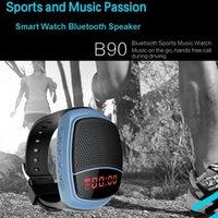 умные часы hands free оптовых-Спорт Bluetooth динамик B90 громкой связи TF Card Playing FM-радио автоспуск беспроводные колонки Smart Watch Time Display