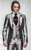 Wholesale Groom Silk Tie - New Arrival Slim Fit Silver Grey Satin Groom Tuxedos Best Man Peak Lapel Groomsmen Men Wedding Suits Bridegroom (Jacket+Pants+Tie+Vest) H804
