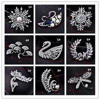 Wholesale Prom Dresses 24 - 24 style Luxury Rhinestones Crystal Zircon Swan angel Flower Brooches Pins Jewelry for Women Girls Prom Dresses Brooch garment accessories