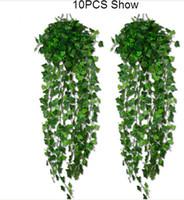 поддельный цветок лист оптовых-15% скидка на 4 варианта стиля! Искусственные растения листьев плюща Гарлэнд Вайн поддельные листва цветы домашнего декора 7.5 футов падения 40шт