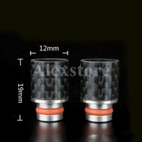 Wholesale delrin drip tips wide bore for sale - Group buy New Delrin Carbon Fiber drip tip Ego drip tips mouthpiece adapter Flat Wide Bore driptip for rba rda atomizer vapor e cigarette mod