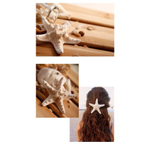 Wholesale-New Natural Pretty DIY Starfish Grampo de cabelo para mulheres Meninas Bege Hairpin Sea Style Decoration Accessory