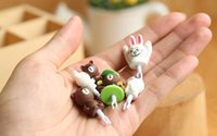 Wholesale Line Dolls For Free - Wholesale-New Arrive!!60pcs Very Very Cute Novelty line doll and brown bear dust plugs(24 styles) for cell phone accessories Free shipping