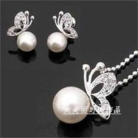 Wholesale Party Song Mix - E119- assurance Butterfly pearl earrings, necklace suit song hye kyo Han edition earrings fashion The bride jewelry accessories