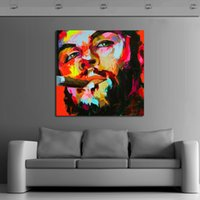 Compra Fumo Appeso-Dipinto a mano Modern Knife Immagini su tela The Beard Man Smoking Oil Painting Per Room Decor Wall Painting Hang Craft