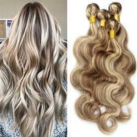 Wholesale Ash Hair Extensions - Light Ash Brown Ombre Brazilian Virgin Hair Extensions Body wave 3Pcs #8 613 Mix Piano Color 100% Human Hair 3 Bundles