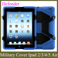 Wholesale Silicon Protector Case - apple PC heavy duty stand case military with screen protector for ipad 2 3 4 5 ipad air defender case waterproof PCC001