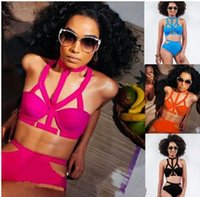 Wholesale Hot Bikini Models - 2015 Hot sell New sexy bikini More rope splicing explosion models bikini swimsuit steel prop Women's Clothing Optional four-color