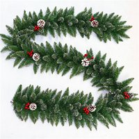 Wholesale Green Pine Cones - Christmas Products Green Pvc Creative Plastic Christmas Indoor Decorative Wreath 270cm Christmas Pine Cones White Side Rattan