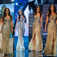 Wholesale Celebrity Prom Gowns - Vestido Miss Universo 2015 Zuhair Murad Arabic Evening Gowns Mermaid Gold side slit Crystal Beaded Lace Tulle Prom Celebrity Dresses