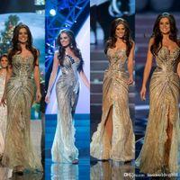 vestido de sirena árabe al por mayor-Vestido Miss Universo Zuhair Murad Vestidos de noche árabes Sirena Ranura lateral Cristal Abalorios de encaje de tul Prom Vestidos de famosos