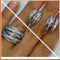 Wholesale Ring Knots - Best Quality 925 Sterling Silver Wedding Ring CZ Micro Paved Knot Ring X Ring Women Silver Ring In Lucky Sonny Store