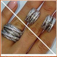 glücksringe silber 925 großhandel-Beste Qualität 925 Sterling Silber Ehering CZ Micro Gepflasterte Knoten Ring X Ring Frauen Silber Ring In Lucky Sonny Shop