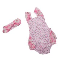 Wholesale Girls Red Cherry Set - baby clothes wholesale pink princess outfit cherry printed cotton ruffle baby girls romper set with headband newborn outfit