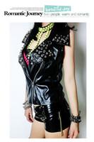 Wholesale Ladies Sexy Leather Jacket - Wholesale-2015 New Sexy ladies fashion PU leather sleeveless jacket femininas Rivet Black jaqueta Zippers Motorcycle Coat