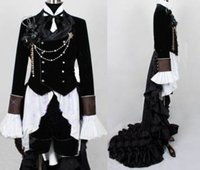 Wholesale Butler Outfit - Wholesale-Black Butler Ciel Phantomhive Black Suit Outfit Custom Cosplay Costume Custom Made Free Shipping