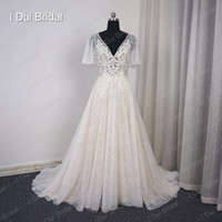 Wholesale Custom Flare Dress - Flare Sleeve V Neck Champagne Lining Wedding Dress A Line Lace Appliqued Beaded Illusion Corset Bridal Gown