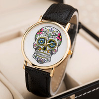 Wholesale Watch Woman Leather Skull - Fashion Wholsale Design Women Dress watches Quartz Watch fashion SKULL Watch Ladies Men Sport Watch 8 colors