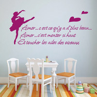 Wholesale Dancers Wall Decor - French Quotes Ballet Dancer Decoration Wall Stickers Home Decor FQ0010