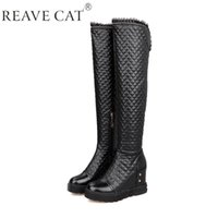 Wholesale Gingham Buttons - 2015 New Autumn winter boots Woman knee boots Platforms Wedges Zip Ladies fashion booties Gingham Lace Cool Warm Black White Hot