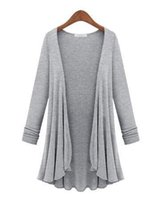 Wholesale Cardigan Out Wear - Wholesale- M-5XL Plus Size Fashion Women Cardigans 2016 Female Sweater Casual Long Sleeve Knit Top Tee Out Wear Oversized Sweater Coat
