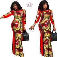 Wholesale Wax Dress For Women - BRW 2017 Autumn African Dresses for Women Party Bazin Riche Dress African Plus Size 6xl Wax Print Dashiki Cotton Dresses WY304