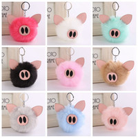 Wholesale pig keychains - Cute Fluffy Pig Keychain Faux Rabbit Fur Women Pig Pendants Car Handbag Key Ring Xmas Gift LJJO3485