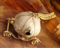 Wholesale Halloween Resin Pumpkins - Vintage Cinderella Jewelry Sweet Cinderella necklaces Fairy Tale Pumpkin Carriage necklaces Pendants Long Sweater Chain Necklaces for Women