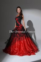 Model Pictures black and white victorian - Red and Black Ball Gown Gothic Wedding Dresses Halter Backless Lace Appliques Custom made colored Victorian Bridal Gowns Vestidos de Novia