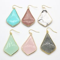 Wholesale Pink Howlite - Wholesale 10 Pairs 18K Gold Plated Rose Pink Quartz Green Howlite Stone Rhombus Earrings For Female Labradorite Jewelry
