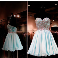 Sky Blue Short Homecoming Kleider Abend Party Wear Perlen Kristall Schatz Mieder Rüschen A Line Customized Plus Size Prom Kleider 2016