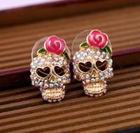 Wholesale Crystal Skull Earrings - Stud Earrings for Women girls lovely Pink Rose Rhinestone Skeleton Skull Ear Studs Earrings