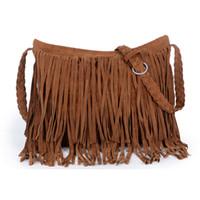Wholesale Cheap Black Shoulder Bags - Women's Suede Weave Tassel Shoulder handbags Messenger Bag fashion Fringe satchel handbags cheap Hot Sale Z&M0605