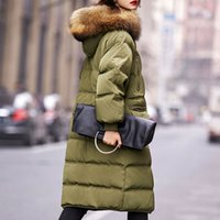Wholesale Womens Real White Fur Coat - Large Real Natural Raccoon Fur Winter Coat Women 2017 Womens Down Jacket White Duck Down Parka With Hooded Warm Loose Parkas