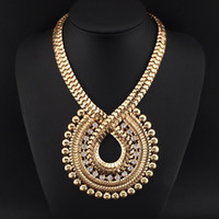 Wholesale Thick Gold Chain Rhinestone - New Women Fashion Design Chokers Accessories Statement Rhinestones Thick Gold Chain Big Collar Pendants Necklaces #2585