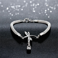 Wholesale Asian Dragonfly - Hot sale 925 silver Dragonfly hanging inlaid stone bracelet DFMCH380, fashion 925 sterling silver Chain link gemstone bracelets high grade