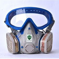 Wholesale Breathing Face Mask - Gas mask with glasses full face protective mask abti-dust paint chemical masks activated carbon fire escape breathing apparatus